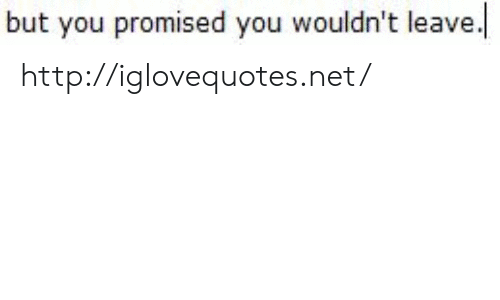 you promised: but you promised you wouldn't leave. http://iglovequotes.net/