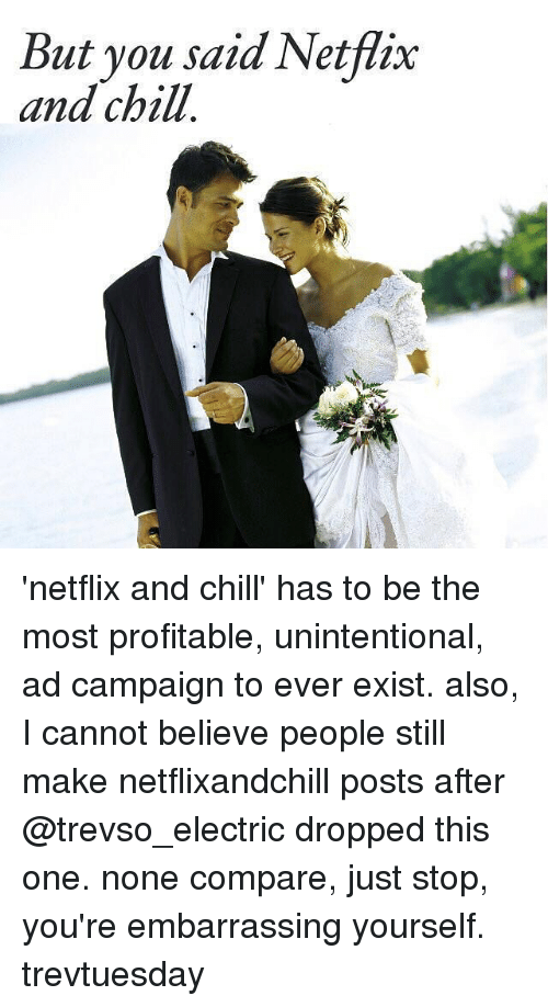 But You Said Netflix And Chill: But you said Netflix  and chill 'netflix and chill' has to be the most profitable, unintentional, ad campaign to ever exist. also, I cannot believe people still make netflixandchill posts after @trevso_electric dropped this one. none compare, just stop, you're embarrassing yourself. trevtuesday