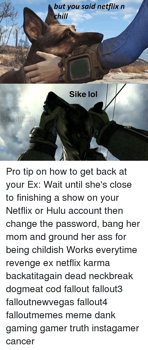 Meme Dank: but you said netflix n  chill  Sike lol Pro tip on how to get back at your Ex: Wait until she's close to finishing a show on your Netflix or Hulu account then change the password, bang her mom and ground her ass for being childish Works everytime revenge ex netflix karma backatitagain dead neckbreak dogmeat cod fallout fallout3 falloutnewvegas fallout4 falloutmemes meme dank gaming gamer truth instagamer cancer