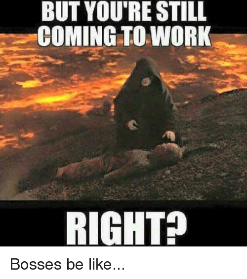 Be Like, Memes, and Work: BUT YOU'RE STILL  COMING TO WORK  RIGHT? Bosses be like...
