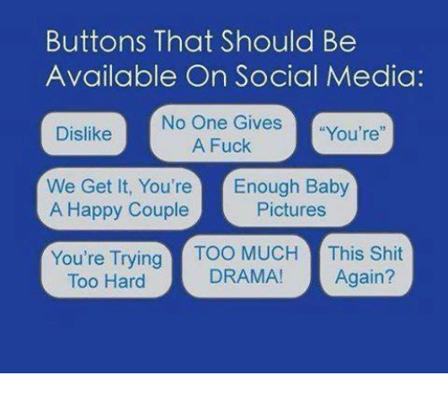 "Fucking, Shit, and Social Media: Buttons That Should Be  Available On Social Media:  No One Gives  ""You're  Dislike  A Fuck  We Get It, You're  Enough Baby  A Happy Couple  Pictures  You're Trying  TOO MUCH  This Shit  DRAMA!  Again?  Too Hard"