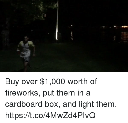 Boxing, Memes, and Fireworks: Buy over $1,000 worth of fireworks, put them in a cardboard box, and light them. https://t.co/4MwZd4PIvQ