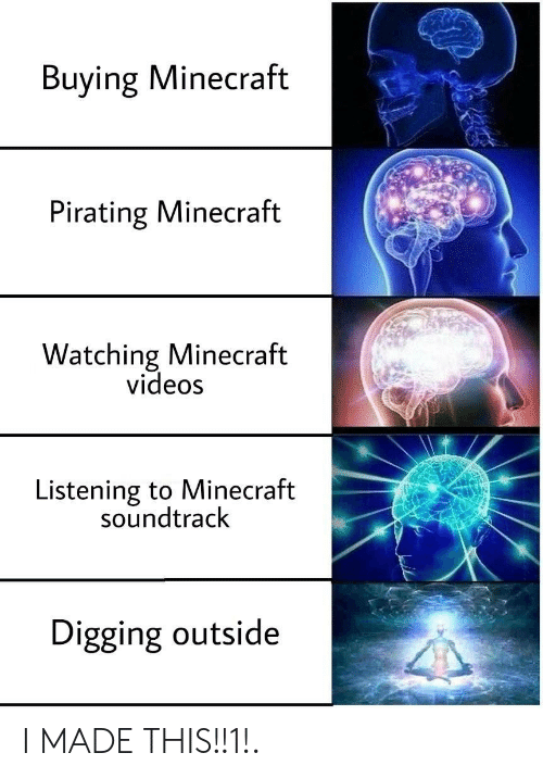 digging: Buying Minecraft  Pirating Minecraft  Watching Minecraft  videos  Listening to Minecraft  soundtrack  Digging outside I MADE THIS!!1!.