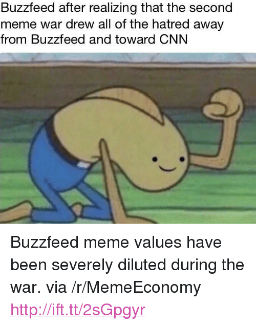 "meme war: Buzzfeed after realizing that the second  meme war drew all of the hatred away  from Buzzfeed and toward CNN <p>Buzzfeed meme values have been severely diluted during the war. via /r/MemeEconomy <a href=""http://ift.tt/2sGpgyr"">http://ift.tt/2sGpgyr</a></p>"