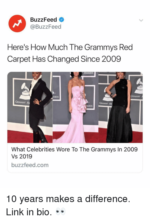 Grammys: BuzzFeed  @BuzzFeed  Here's How Much The Grammys Red  Carpet Has Changed Since 2009  AWARDS  GRAMMY  ARDS  GRAMMY A  GRAMMY Aw  ARDS  What Celebrities Wore To The Grammys In 2009  Vs 2019  buzzfeed.com 10 years makes a difference. Link in bio. 👀