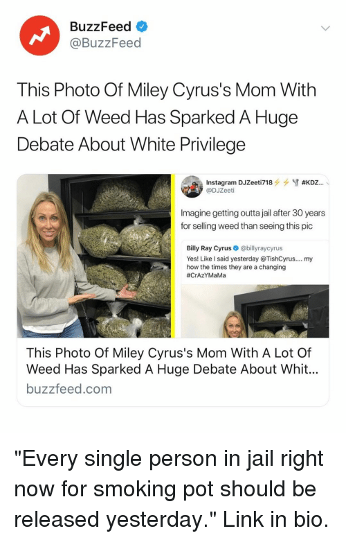 """Miley Cyrus: BuzzFeed  @BuzzFeed  This Photo Of Miley Cyrus's Mom With  A Lot Of Weed Has Sparked A Huge  Debate About White Privilege  @DJZeeti  Imagine getting outta jail after 30 years  for selling weed than seeing this pic  Billy Ray Cyrus@billyraycyrus  Yes! Like l said yesterday @TishCyrus.... my  how the times they are a changing  #CrAZYMaMa  This Photo Of Miley Cyrus's Mom With A Lot Of  Weed Has Sparked A Huge Debate About Whit  buzzfeed.com """"Every single person in jail right now for smoking pot should be released yesterday."""" Link in bio."""