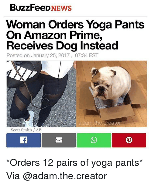 Yoga Pant: BuzzFeeD  NEWS  Woman Orders Yoga Pants  On Amazon  Prime,  Receives Dog Instead  Posted on January 25, 2017, 07:34 EST  am the Creator  Scott Smith /AP *Orders 12 pairs of yoga pants* Via @adam.the.creator