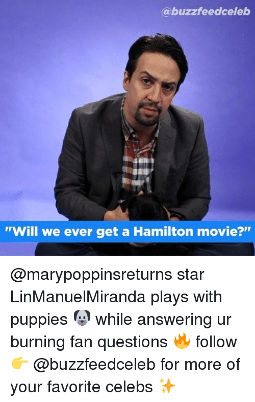 """celebs: @buzzfeedceleb  """"Will we ever get a Hamilton movie?"""" @marypoppinsreturns star LinManuelMiranda plays with puppies 🐶 while answering ur burning fan questions 🔥 follow 👉 @buzzfeedceleb for more of your favorite celebs ✨"""