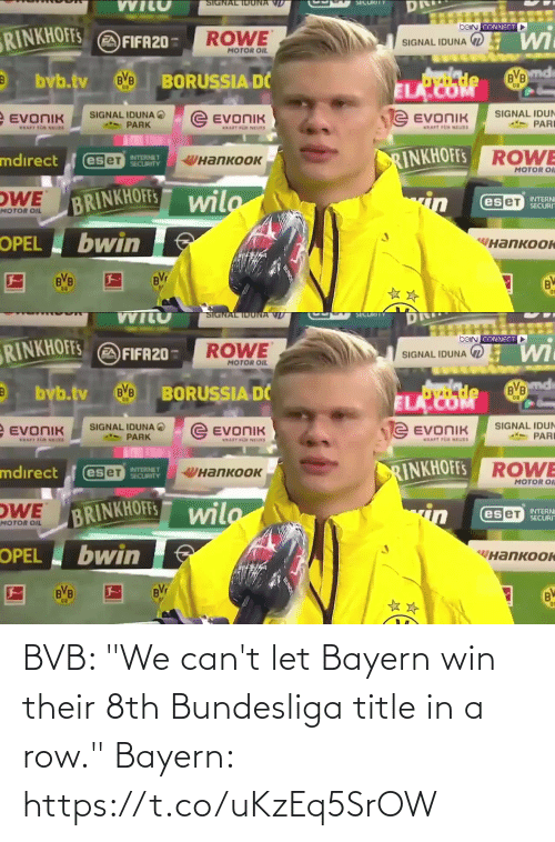 "Bayern: BVB: ""We can't let Bayern win their 8th Bundesliga title in a row.""  Bayern: https://t.co/uKzEq5SrOW"