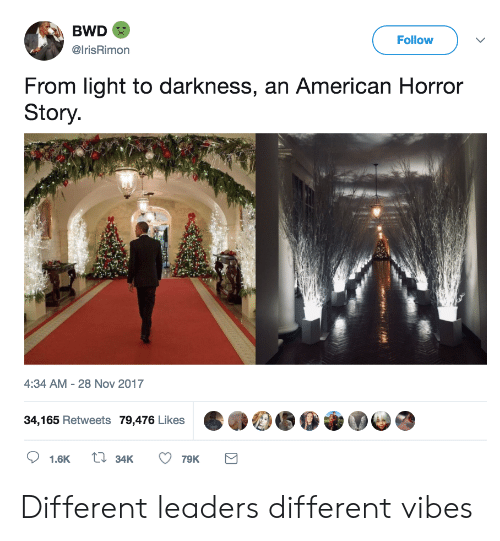 American Horror Story: BWD  @IrisRimon  Follow  From light to darkness, an American Horror  Story  4:34 AM - 28 Nov 2017  34,165 Retweets 79,476 Likes  1.6K  34K  79K Different leaders different vibes