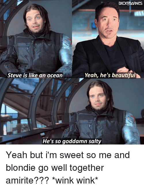 winking: BXCKYBARNes  Yeah, he's beautiful  Steve is like an ocean  He's so goddamn salty Yeah but i'm sweet so me and blondie go well together amirite??? *wink wink*
