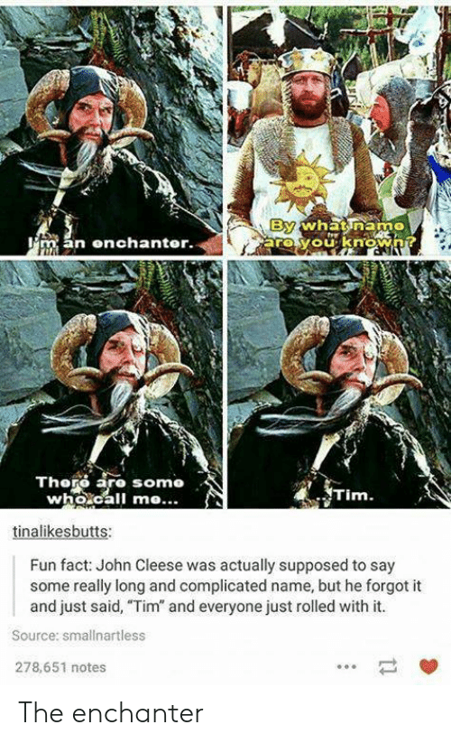 "Somo: By  arovouknowA?  whnatinam  man enchanter.  Thoro aro somo  who.call me...  Tim.  tinalikesbutts:  Fun fact: John Cleese was actually supposed to say  some really long and complicated name, but he forgot it  and just said, ""Tim"" and everyone just rolled with it.  Source: smallnartless  278,651 notes The enchanter"