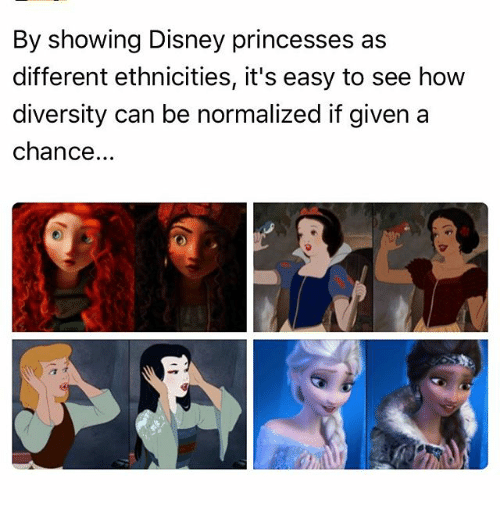 Disney, Memes, and Diversity: By showing Disney princesses as  different ethnicities, it's easy to see how  diversity can be normalized if given a  chance