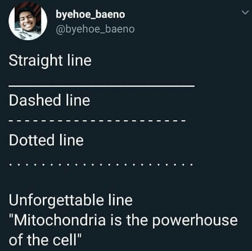 """Mitochondria: byehoe_baeno  @byehoe_baeno  Straight line  Dashed line  Dotted line  Unforgettable line  """"Mitochondria is the powerhouse  of the cell"""""""