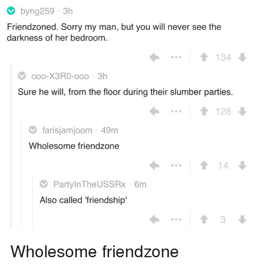 Friendzone, Sorry, and Wholesome: byng259 3h  Friendzoned. Sorry my man, but you will never see the  darkness of her bedroom  ..1134  oo0-X3RO-ooo 3h  Sure he will, from the floor during their slumber parties  1128  farisjamjoom 49m  Wholesome friendzone  14  PartylnTheUSSRx 6m  Also called 'friendship'  3 <p>Wholesome friendzone</p>
