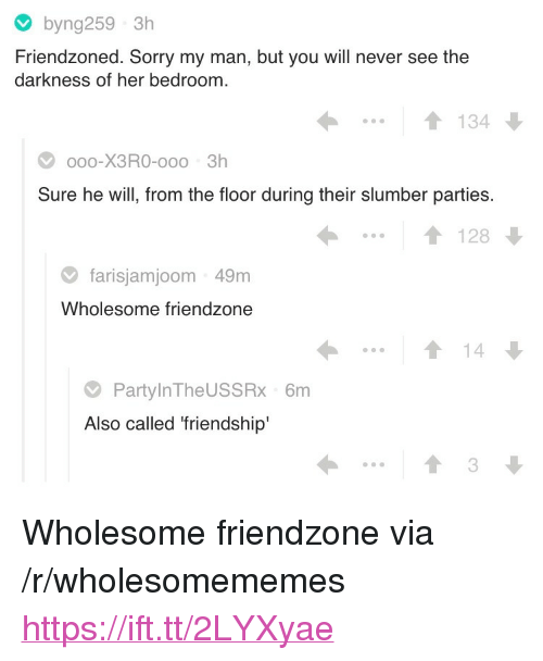 """Friendzone, Sorry, and Wholesome: byng259 3h  Friendzoned. Sorry my man, but you will never see the  darkness of her bedroom  ..1134  oo0-X3RO-ooo 3h  Sure he will, from the floor during their slumber parties  1128  farisjamjoom 49m  Wholesome friendzone  14  PartylnTheUSSRx 6m  Also called 'friendship'  3 <p>Wholesome friendzone via /r/wholesomememes <a href=""""https://ift.tt/2LYXyae"""">https://ift.tt/2LYXyae</a></p>"""