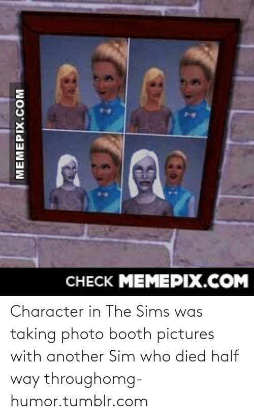 meme: CНЕCK MEMEРIX.COM  MEMEPIX.COM Character in The Sims was taking photo booth pictures with another Sim who died half way throughomg-humor.tumblr.com