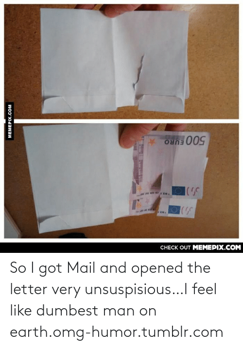 Got Mail: CНЕCK OUT MЕМЕРIХ.COM  500 EURO  MEMEPIX.COM So I got Mail and opened the letter very unsuspisious…I feel like dumbest man on earth.omg-humor.tumblr.com