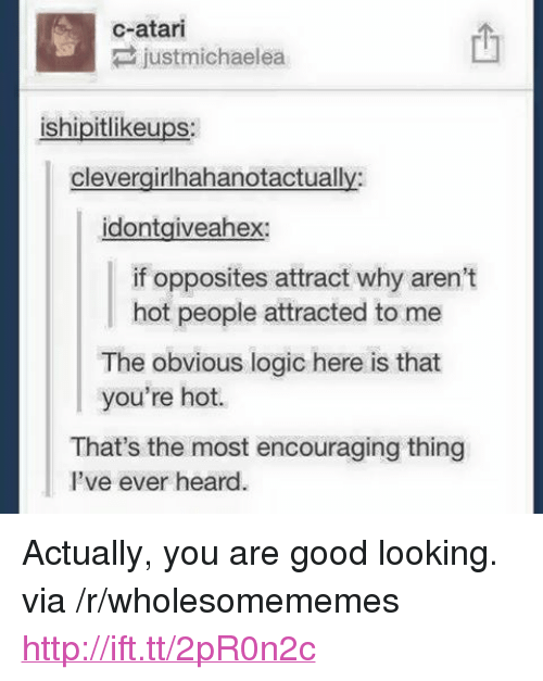 """atari: c-atari  justmichaelea  ishipitlikeups  clevergirlhahanotactually  idontgiveahex:  if opposites attract why aren't  hot people attracted to me  The obvious logic here is that  you're hot.  That's the most encouraging thing  l've ever heard <p>Actually, you are good looking. via /r/wholesomememes <a href=""""http://ift.tt/2pR0n2c"""">http://ift.tt/2pR0n2c</a></p>"""
