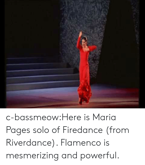maria: c-bassmeow:Here is Maria Pages solo of Firedance (from Riverdance). Flamenco is mesmerizing and powerful.