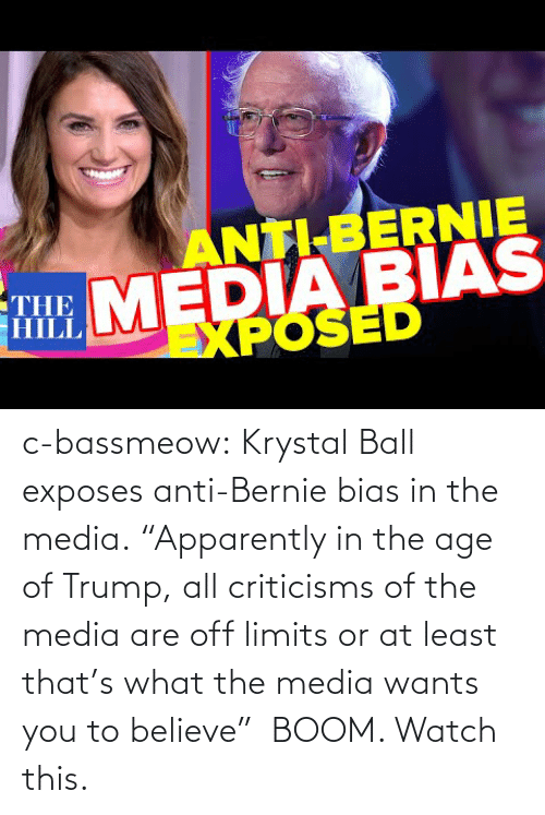 "boom: c-bassmeow:  Krystal Ball  exposes anti-Bernie bias in the media. ""Apparently in the age of Trump, all criticisms of the media are off limits or at least that's what the media wants you to believe""  BOOM. Watch this."