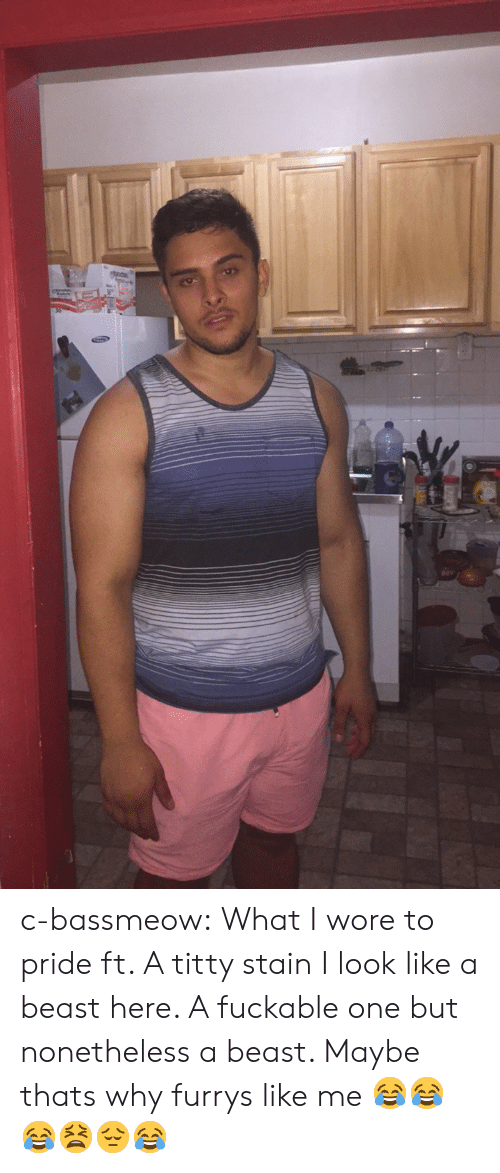 furrys: c-bassmeow:  What I wore to pride ft. A titty stain  I look like a beast here. A fuckable one but nonetheless a beast. Maybe thats why furrys like me 😂😂😂😫😔😂