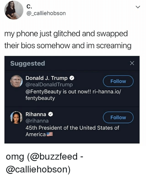 America, Memes, and Omg: C.  @_calliehobson  my phone just glitched and swapped  their bios somehow and im screaming  Suggested  Donald J. Trump  @realDonaldTrump  @FentyBeauty is out now!! ri-hanna.io/  fentybeauty  Follow  缰)  Rihanna  @rihanna  45th President of the United States of  America  Follow omg (@buzzfeed - @calliehobson)