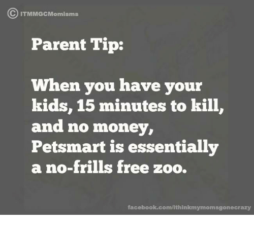 Dank, Petsmart, and 🤖: C IT  Parent Tip:  When you have your  kids, 15 minutes to kill,  and no money,  Petsmart is essentially  a no-frills free zoo.  facebook.com/ithinkmymomsgonecrazy