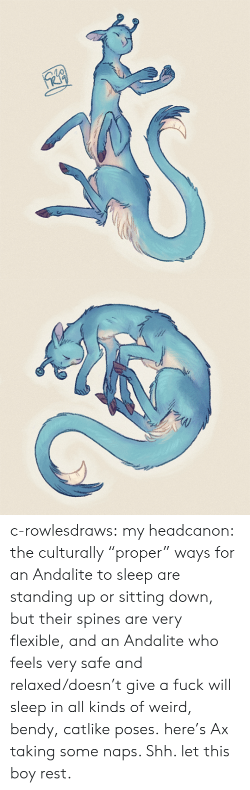 """relaxed: c-rowlesdraws: my headcanon: the culturally """"proper"""" ways for an Andalite to sleep are standing up or sitting down, but their spines are very flexible, and an Andalite who feels very safe and relaxed/doesn't give a fuck will sleep in all kinds of weird, bendy, catlike poses. here's Ax taking some naps. Shh. let this boy rest."""