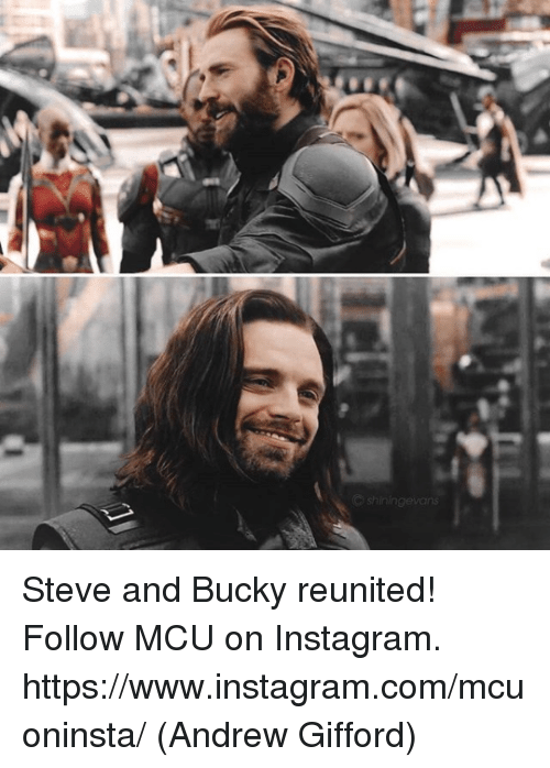 Instagram, Memes, and 🤖: C shiningevans Steve and Bucky reunited!  Follow MCU on Instagram. https://www.instagram.com/mcuoninsta/  (Andrew Gifford)