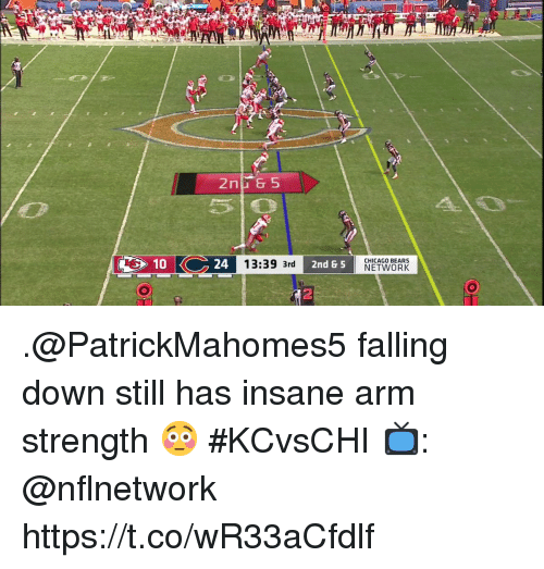 Chicago, Chicago Bears, and Memes: C10C24  1.29 3rd 2nd & 5  CHICAGO BEARS  NETWORK  10  2 .@PatrickMahomes5 falling down still has insane arm strength 😳  #KCvsCHI  📺: @nflnetwork https://t.co/wR33aCfdlf