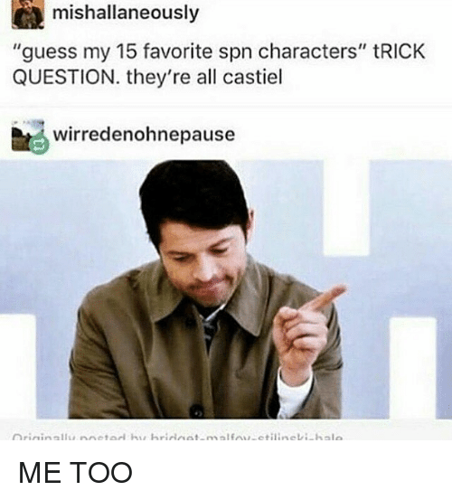 "trick questions: CA mishallaneously  ""guess my 15 favorite spn characters"" tRICK  QUESTION. they're all castiel  bt wirredenohnepause ME TOO"