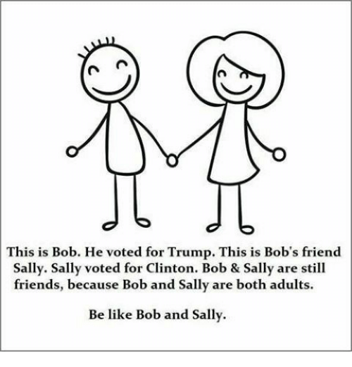 this is bob: CA n  This is Bob. He voted for Trump. This is Bob's friend  Sally. Sally voted for Clinton. Bob & Sally are still  friends, because Bob and Sally are both adults.  Be like Bob and Sally.