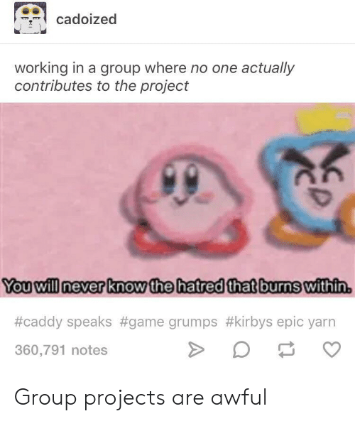 Group Projects: cadoized  working in a group where no one actually  contributes to the project  Youwill Inever know the hatredthat burns within  #caddy speaks #game grumps #kirbys epic yarn  360,791 notes Group projects are awful