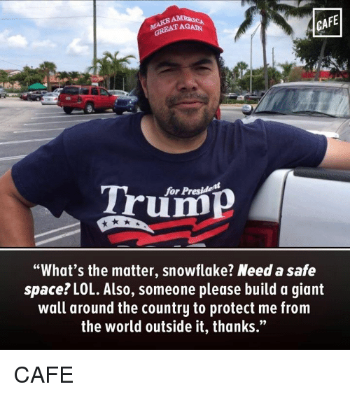 """Lol, Giant, and Space: CAFE  AGAIN  GREAT Trum  """"What's the matter, snowflake? Need a safe  space? LOL. Also, someone please build a giant  wall around the country to protect me from  the world outside it, thanks."""" CAFE"""
