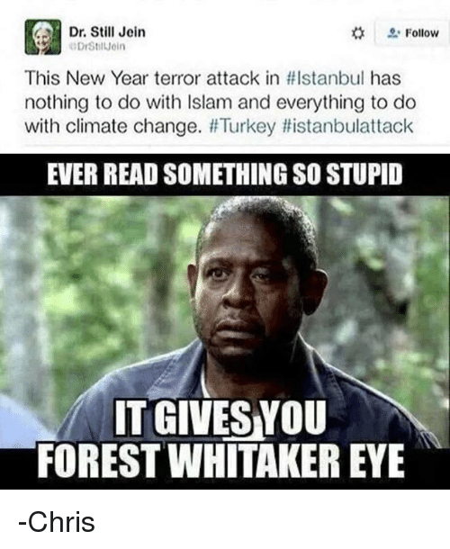 Forest Whitakers Eye: CAH Dr. Still Jein  Follow  This New Year terror attack in HIstanbul has  nothing to do with Islam and everything to do  with climate change. #Turkey Histanbulattack  EVER READ SOMETHING SO STUPID  ITGIVESYOU  FOREST WHITAKER EYE -Chris
