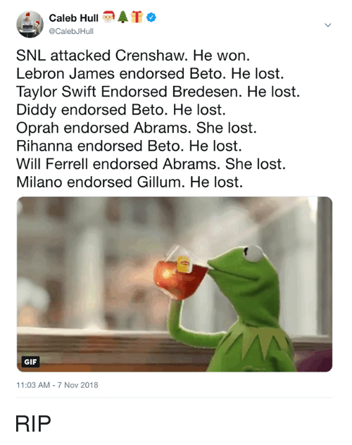 Diddy: Caleb HullATo  @CalebJHull  SNL attacked Crenshaw. He won.  Lebron James endorsed Beto. He lost.  Taylor Swift Endorsed Bredesen. He lost.  Diddy endorsed Beto. He lost.  Oprah endorsed Abrams. She lost.  Rihanna endorsed Beto. He lost.  Will Ferrell endorsed Abrams. She lost.  Milano endorsed Gillum. He lost.  GIF  11:03 AM-7 Nov 2018 RIP