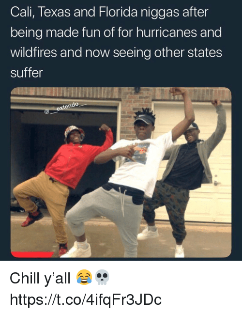 Chill, Florida, and Texas: Cali, Texas and Florida niggas after  being made fun of for hurricanes and  wildfires and now seeing other states  suffer  te Chill y'all 😂💀 https://t.co/4ifqFr3JDc