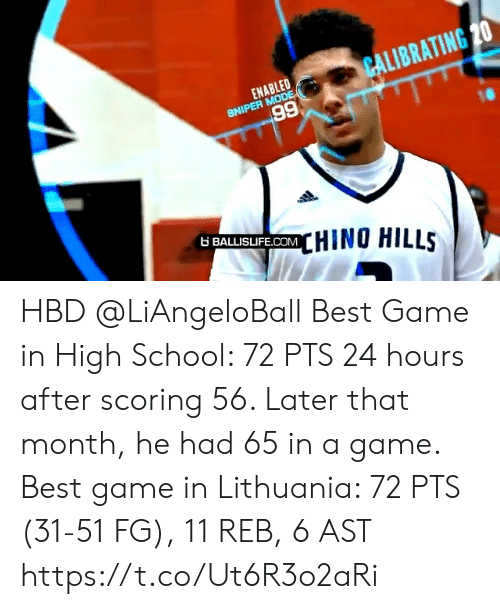 24 hours: CALIBRATING 20  ENABLED  SNIPER MODE  66  6 BALLISIFE.COMHINO HILLS HBD @LiAngeloBall  Best Game in High School: 72 PTS 24 hours after scoring 56. Later that month, he had 65 in a game.   Best game in Lithuania: 72 PTS (31-51 FG), 11 REB, 6 AST https://t.co/Ut6R3o2aRi