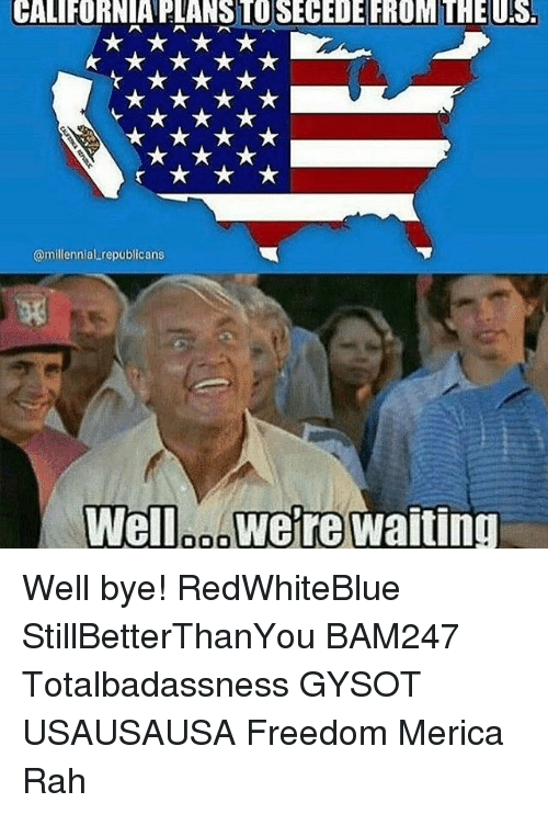 Memes, 🤖, and Well Bye: CALIFORNIA ELANSTOSECEDE FROM THEUS.  @millennial republicans  Well DOO  Were Waiting Well bye! RedWhiteBlue StillBetterThanYou BAM247 Totalbadassness GYSOT USAUSAUSA Freedom Merica Rah