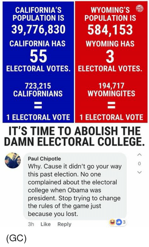 electoral college: CALIFORNIA'S  POPULATION IS | POPULATION IS  WYOMING'S  39,776,830584,153  CALIFORNIA HAS  WYOMING HAS  3  ELECTORAL VOTES. I ELECTORAL VOTES.  723,215  CALIFORNIANS  194,717  WYOMINGITES  1 ELECTORAL VOTE 1 ELECTORAL VOTE  IT'S TIME TO ABOLISH THE  DAMN ELECTORAL COLLEGE.  Paul Chipotle  Why. Cause it didn't go your way  this past election. No one  complained about the electoral  college when Obama was  president. Stop trying to change  the rules of the game just  because you lost.  3h Like Reply  0 (GC)