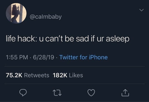 Life hack: @calmbaby  life hack: u can't be sad if ur asleep  1:55 PM 6/28/19 Twitter for iPhone  75.2K Retweets 182K Likes