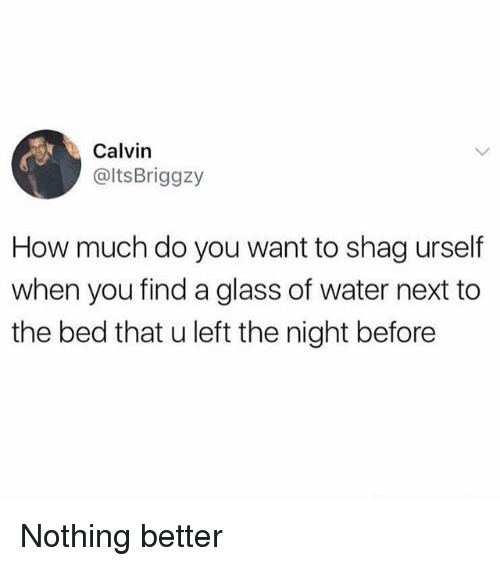 glassing: Calvin  @ltsBriggzy  How much do you want to shag urself  when you find a glass of water next to  the bed that u left the night before Nothing better