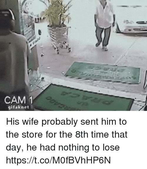 Funny, Time, and Wife: CAM  1  gifak net His wife probably sent him to the store for the 8th time that day, he had nothing to lose https://t.co/M0fBVhHP6N