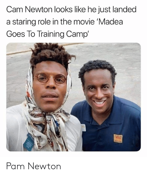 Cam Newton: Cam Newton looks like he just landed  a staring role in the movie 'Madea  Goes To Training Camp'  too Pam Newton