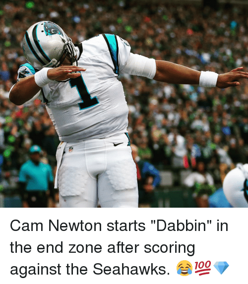 """Dabbin': Cam Newton starts """"Dabbin"""" in the end zone after scoring against the Seahawks. 😂💯💎"""