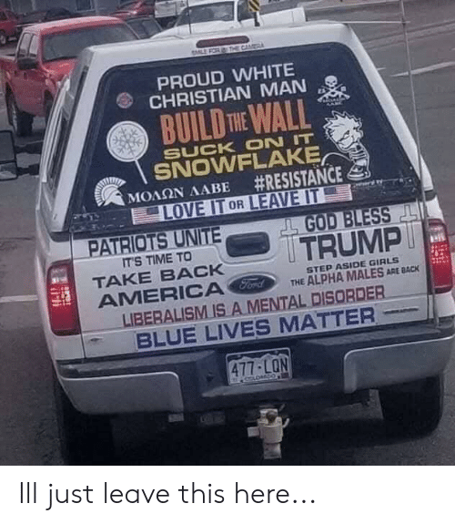 build-the-wall: CAM  PROUD WHITE  CHRISTIAN MAN  BUILD THE WALL  SUCK ON IT  SNOWFLAKE  #RESISTANCE  LOVE IT OR LEAVE IT  ΜΟΛΩΝ ΛΑΒΕ  PATRIOTS UNITE  GOD BLESS  TRUMP  IT'S TIME TO  TAKE BACK  AMERICA Ford  LIBERALISM IS A MENTAL DISORDER  BLUE LIVES MATTER  STEP ASIDE GIRLS  THE ALPHA MALES ARE BACK  477-LON Ill just leave this here...