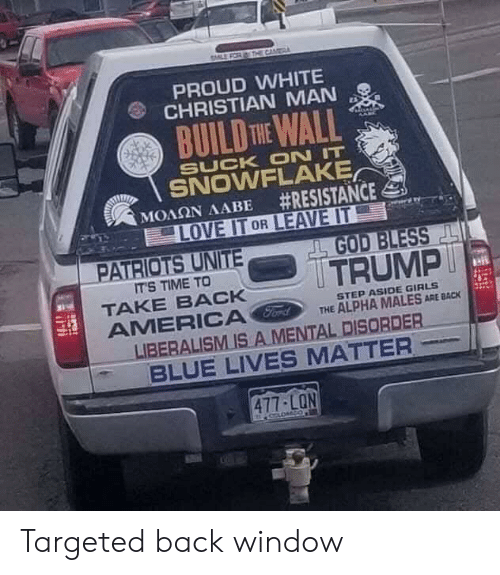 build-the-wall: CAM  PROUD WHITE  CHRISTIAN MAN  BUILD THE WALL  SUCK ON IT  SNOWFLAKE  #RESISTANCE  LOVE IT OR LEAVE IT  ΜΟΛΩΝ ΛΑΒΕ  PATRIOTS UNITE  GOD BLESS  TRUMP  IT'S TIME TO  TAKE BACK  AMERICA Ford  LIBERALISM IS A MENTAL DISORDER  BLUE LIVES MATTER  STEP ASIDE GIRLS  THE ALPHA MALES ARE BACK  477-LON Targeted back window