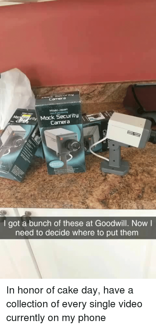 security camera: Camera  Mitaki-Japan  Non-Funcilaning  Mock Security  \  Camera  ai  I got a bunch of these at Goodwill. Now I  need to decide where to put them In honor of cake day, have a collection of every single video currently on my phone