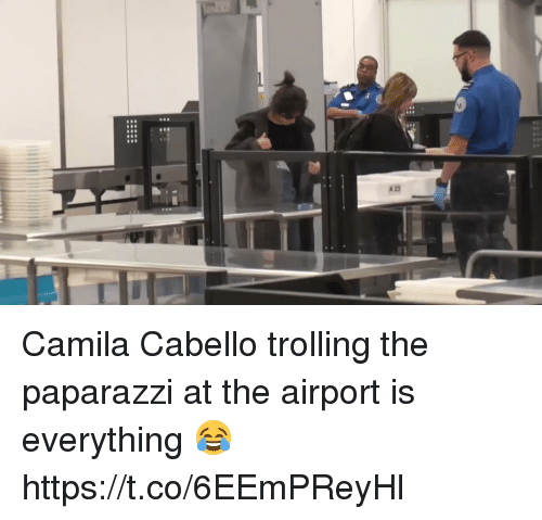 Camila Cabello: Camila Cabello trolling the paparazzi at the airport is everything 😂 https://t.co/6EEmPReyHl